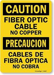"SmartSign by Lyle ""Caution: Fiber Optic Cable No Copper"" Sign - 18""x12"""