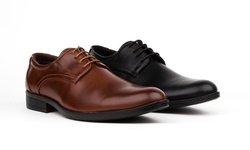 Royal Men's Plain Toe Oxford Dress Shoes: Brown/11