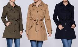 Women's Lightweight Trench Coat: Olive/medium