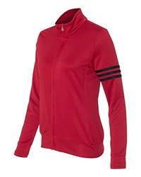 adidas A191 Ladies ClimaLite 3-Stripes Full Zip Pullover Jacket - University Red & Black, Large