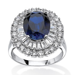 6 03 TCW CZ and Blue Sapphire Halo Cocktail Ring - Size: 10