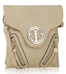 Mkf Collection Chelsea Designer Flip Top Crossbody Handbag: Beige
