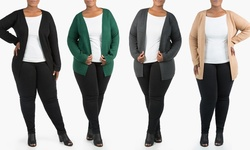 Women's Plus Size Long Open-Front Cardigan - Charcoal Grey - Size: 2X