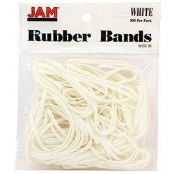 JAM Paper Regular-Sized Rubber Bands White Pack 100