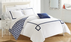 Chic Home Embroidered Reversible 8PC Duvet Bed in Bag Set - Navy - Size: K