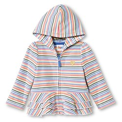 Circo Baby Girls' Multi-Striped Peplum Ruffle Hoodie - Blue - 12M