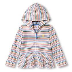 Circo Girls' Toddler Striped Peplum Ruffle Hoodie - Multi Stripe - 4T