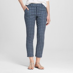 Merona Women's Ankle Classic Fit Pant - Blue/White - Size: 10