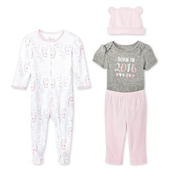 Circo Baby Girls' 4-Piece Layette Set - Pink/Gray - Size: 3-6 M