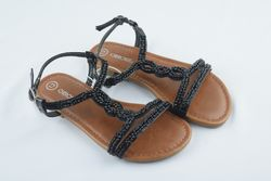Cherokee Girls' Britt Jeweled Slide Sandals - Black - Size: 13