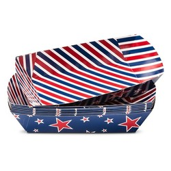 "8""x4"" 4th of July Striped Hot Dog Boats Paper Tray - 8-ct -Red/White/Blue"