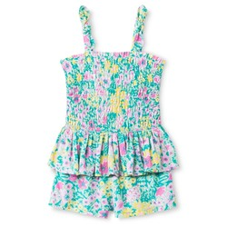 Oshkosh Baby Girls' Floral Peplum Romper - Green - Size: 18 Month