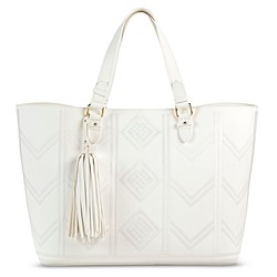 Merona Women's Embroidered Tote Faux Leather Handbag - White