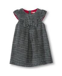 Infant Toddler Girl's Woven Dress - Black / White - Size: 2T