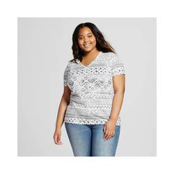 Mossimo Women's Plus Size V-Neck T-Shirt - Black/White - Size: X