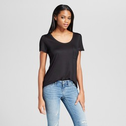 Mossimo Women's Crew Neck Tee with Pocket - Ebony - Size: XL