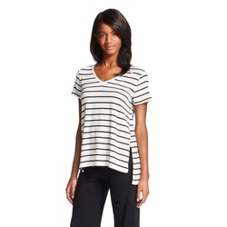 Gilligan & O'Malley Women's Stripe Knit T-Shirt - Black/White -Size: M