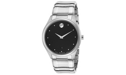 Movado Men's Luno Stainless Steel Watch - Black Dial/Silver-tone Band