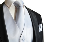 Daily Haute Men's Solid Vest & Tie & Pocket Square Set - White - Size: L