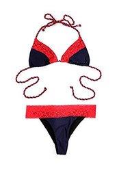 Relleciga Women'S Lace Bikini Triangle Swimsuit - Red - Size: Large