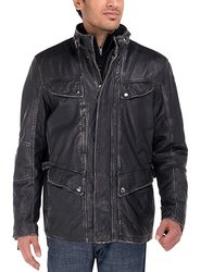 Luciano Natazzi Men's Vintage Look Long Leather Jacket - Black - Size: 3XL