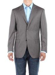 Bianco B Men's Check Modern Blazer Trim Fit Jacket - Tan - Size: 42L