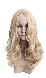 Angelaicos Women's Natural Curly Straight Hair Full Wig Long - Blonde