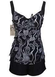 HengJia Women's 2 Piece Pin Up Swimwear Tankini - Pearl Blk - Size: 16-18