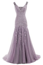 Cocomelody Women's A Line V Neck Evening Dress - Purple - Size: 24