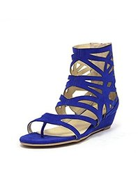 Dooballo Women's Avelynn Cut Out Wedge Sandal - Cobalt Blue - Size: 6