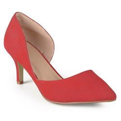 Journee Women's Hali Almond Toe Cut-out Pumps - Red - Size: 7.5