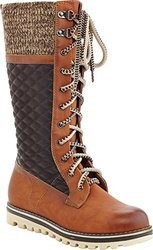 "Women's CHARLIE Triple Textured Tall Laceup Boot - Camel - Sz"" 11"