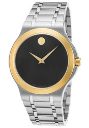 Movado Men's Stainless Steel Watch - Black Dial / Gold Tone
