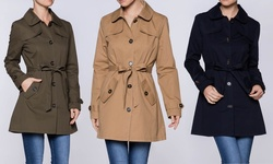 Women's Lightweight Trench Coat: Khaki/medium