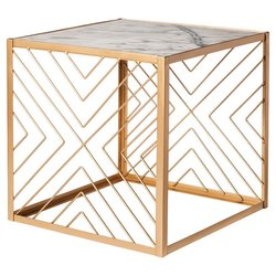 "Nate Berkus Square Accent Table with Marble Top - Gold - 18.5"" x 18.5"""