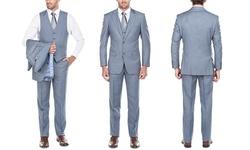 Verno Men's Classic-Fit Peak-Lapel Suits 3-Piece - Blue - Size: 46R x 40W