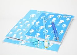 Stationery-Blue Squid lined pocket notepad A6 & A5 Squid Sketch Art Pad
