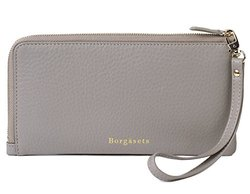 Borgasets Identity Safe Leather Wallet with Removable Strap - Grey