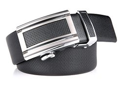 "Marino Men's Ultra Soft Leather Ratchet Dress Belt with Automatic Buckle, Enclosed in an Elegant Gift Box - Gunblack Silver Leather Buckle W/ Black Leather - Custom: Up to 44"" Waist"