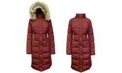 Women's Long Bubble Parka Jacket W/detachable Hood - Burgundy - Size: M