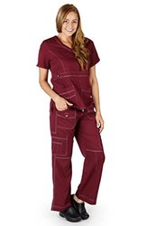 Stretch Soft Fabric Junior Fit Contrast Grey Stitch Set Xxl: Burgundy