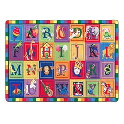 """Flagship Carpets FE111-32A ABC Blocks, Showcases Every Letter of the Alphabet, Children's Classroom Educational Seating Carpet, 5'10"""" x 8'4"""", 70"""" Length, 100"""" Width, Multi-Color"""