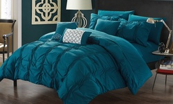 10-Piece Mori Pinch Pleated Comforter Set - Navy - Size: King