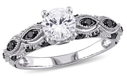 10k White Gold Ring with Black Diamonds & Created Sapphire - White