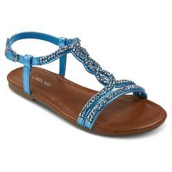 Cherokee Girls' Britt Jeweled Slide Sandals - Turquoise - Size: 6