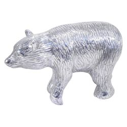 Threshold Silver Metal Bear Figurine for Desk or Table