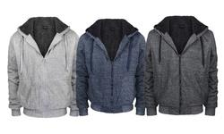 Lee Hanton Men's Zip Up Fleece Sherpa Lined Hoodie - Marled Navy - Sz: 5XL