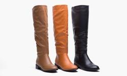 Pu Wide Calf Flat Riding Boot Maze - Black/7