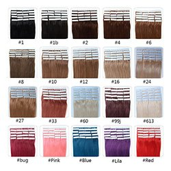 Fabwigs Tape In Human Hair Extensions - 16 18 20 22 24 Inch 20pcs 30g-70g Set - Silky Straight Skin Weft Human Remy Hair (24 Inch #8 Ash Brown)