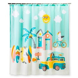 Circo Surf Shower Curtain - True White/Blue Delta 1